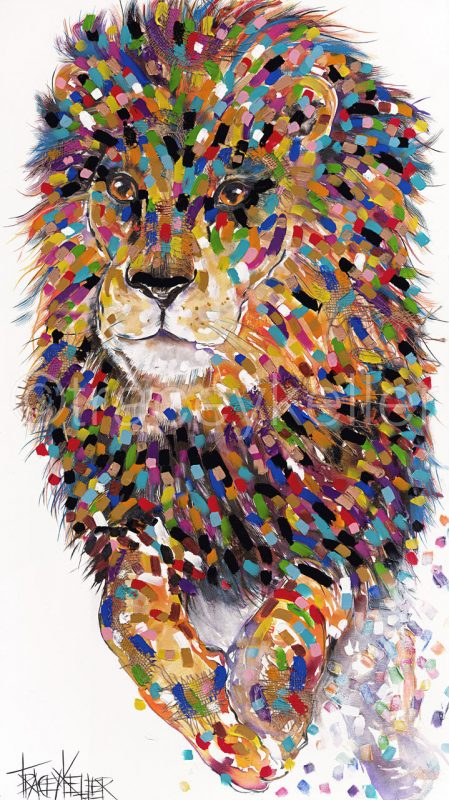 Tracey Keller Jumping Lion Painting