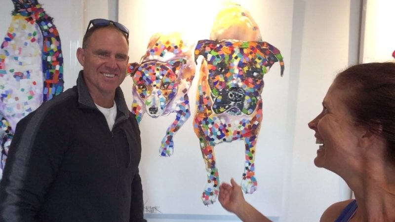 Tracey Keller with Matthew Hayden picking up his privately commissioned work